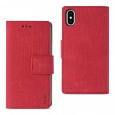 Apple iPhone X Denim Wallet Case Red