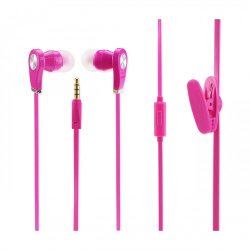 Cell Phone Shake Proof In Ear Headphones With Mic In Hot Pink