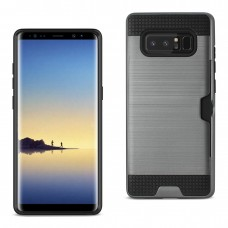 Samsung Galaxy Note 8 Slim Armor Hybrid Case With Card Holder In Gray