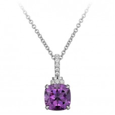 Jewelry Necklace Cushion Cut Amethyst and Diamond 14kt White Gold Pendant