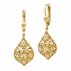 Jewelry Earring 14kt Yellow Gold Diamond Cut Flower Earrings