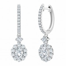 Jewelry Earring Oval & Round Brilliant 1.16 ctw VS2 Clarity, I Color Diamond 14kt White Gold Drop Earrings