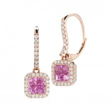 Jewelry Earring Pink Sapphire and Diamond Earrings 14kt Rose Gold