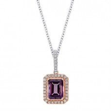 Jewelry Necklace Emerald Cut Amethyst and Diamond 14kt Rose and White Gold Pendant