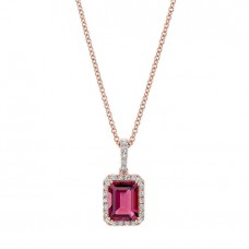 Jewelry Necklace Pink Tourmaline and Diamond 14kt Rose Gold Pendant