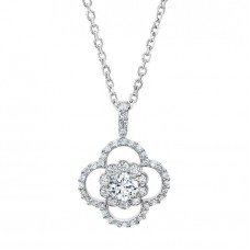 Jewelry Necklace Round Brilliant 1.00 ctw VS2 Clarity, I Color Diamond 14kt White Gold Necklace