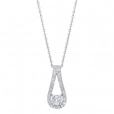 Jewelry Necklace Round Brilliant 0.48 ctw VS2 Clarity, I Color Diamond 14kt White Gold Necklace
