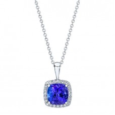 Jewelry Necklace Tanzanite and Diamond 14kt White Gold Pendant