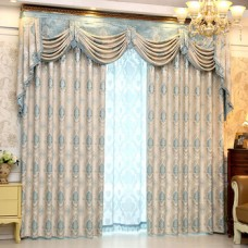 Curtain Embroidery Fancy European Head Gray Jacquard Valance Window Curtains