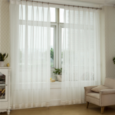 Curtain Embroidered Sheer Voile Curtain Fabric With Light Weight