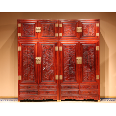 Red Wood Cloth Cabinet