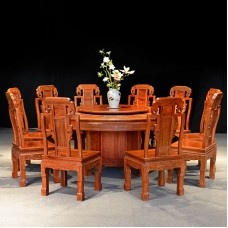 Red Wood Round Dinner Table