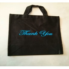 Non Woven Bag Black with Thank You 100ct Size:12x13x7 inch