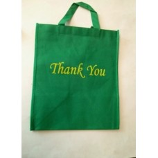 Non Woven Bag Green with Thank You 100ct Size:12x13x7 inch