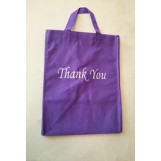 Non Woven Bag Purple  with Thank You 100ct Size:12x14x9.5 inch